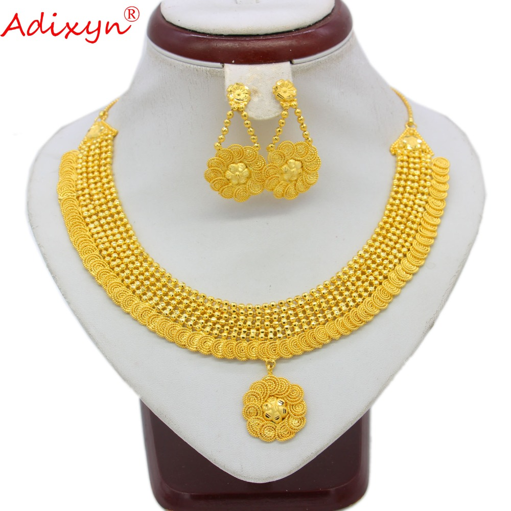 Adixyn India Necklace Earrings Jewelry Set For Women Girls Gold Color Brass African Ethiopian Dubai Wedding
