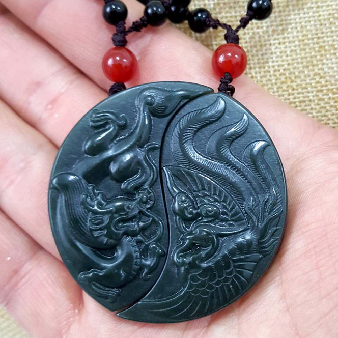 Pure manual sculpture dark green gossip longfeng to token pendant bead necklace for men and women lovers style
