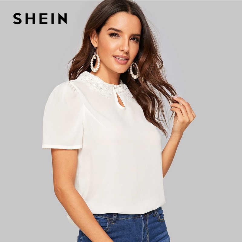 f9a0dff38e ... SHEIN White Elegant Keyhole Front Lace Collar Top Round Neck Puff  Sleeve Women Blouses Summer Workwear ...