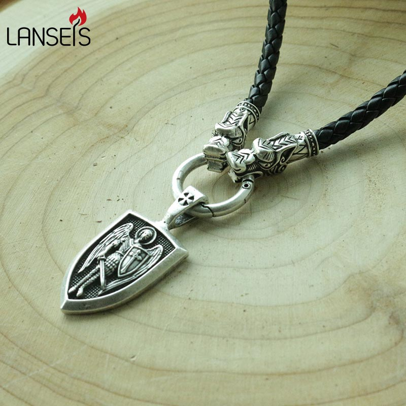 lanseis 1pcs dropshipping men necklace Archangel St.Michael Protect Me Saint Shield Protection Charm russian orhodox pendant 4