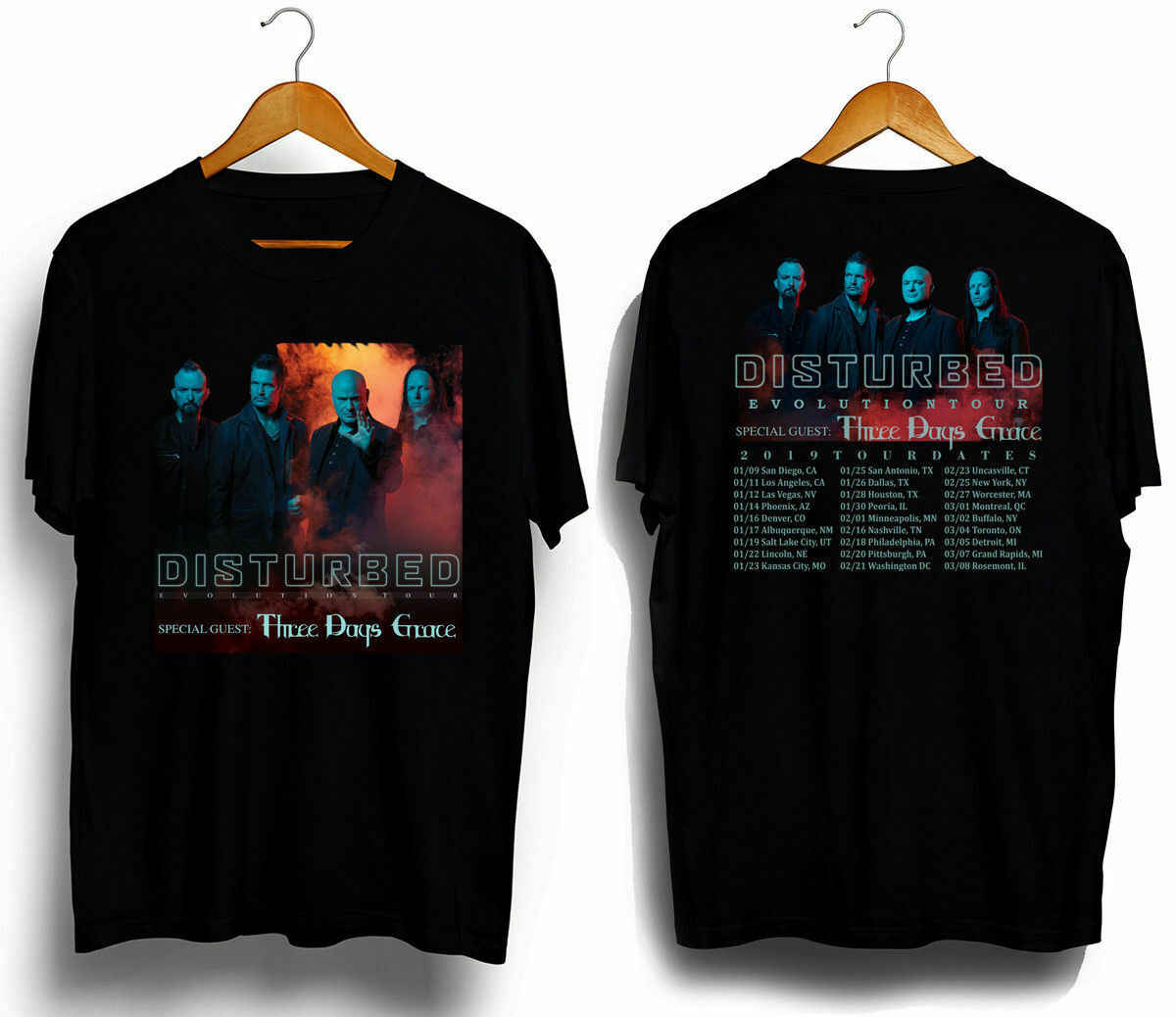 RARE ITEMS Disturbed and Three Days Grace Tour dates 2019 t-shirt S-3XL
