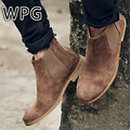 WPG 2017 NEW Kanye West Vintage Style Chelsea Boots Top quality Leather Suede Men Shoes Luxury Brand Chelsea Men Boot bota shoes