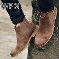 WPG 2017 NUEVA Kanye West Estilo Vintage Botas Chelsea calidad Superior Zapatos de Gamuza de cuero de Los Hombres de Lujo Marca Chelsea Hombres Bota bota zapatos