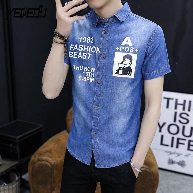 119f397c53c  1111 2018 Summer jeans shirts men Vintage Printed Short sleeve denim shirt  men Thin Lapel collar Slim fit Chemise homme Fashion