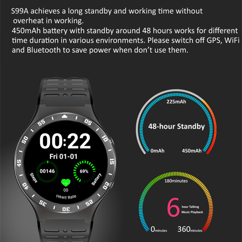 2017NEW HOT S99A Quad Core 3G Smart Watch Android 5.1 512RAM 8GB ROM GPS WiFi Bluetooth V4.0 MTK6580 SmartWatch pk kw88 X5 D5+ huadoo v3 ip68 waterproof quad core android 4 4 3g smartphone w 4 0 wifi nfc 8gb rom bluetooth