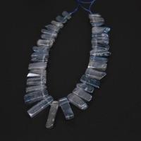 Fetta lucido perline sparse titanium grigio blu ciondolo di quarzo strand, top forato prime naturali cristalli tusk spike gioielli neckalce