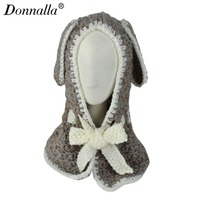 Donnalla Cute Hat Beanie Hooded Neck Shawls Baby Kids Winter Warmer Knit Woolen Crochet Bowknot Cape