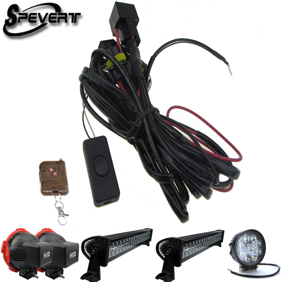 SPEVERT Universal Remote Control Wiring Harness Switch kit For LED HID Offroad WorkLight Bar SUV UTE ATV Drive Driving Fog Lamp