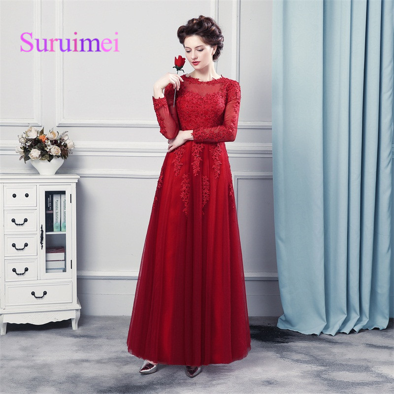 New Real Photo Elegant O-Neck A-Line Full Sleevele Evening Dresses 2019 With Lace Women For Formal Prom Party Gowns Hot Sale
