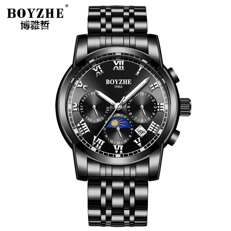 luxury brand boyzhe man watches black blue stainless steel mens wristwatches mechanical Automatic waterproof Moon Phase calendar mens watches mechanical automatic stainless steel waterproof man wristwatches fashion hollow oubaoer brand luxury men s clocks