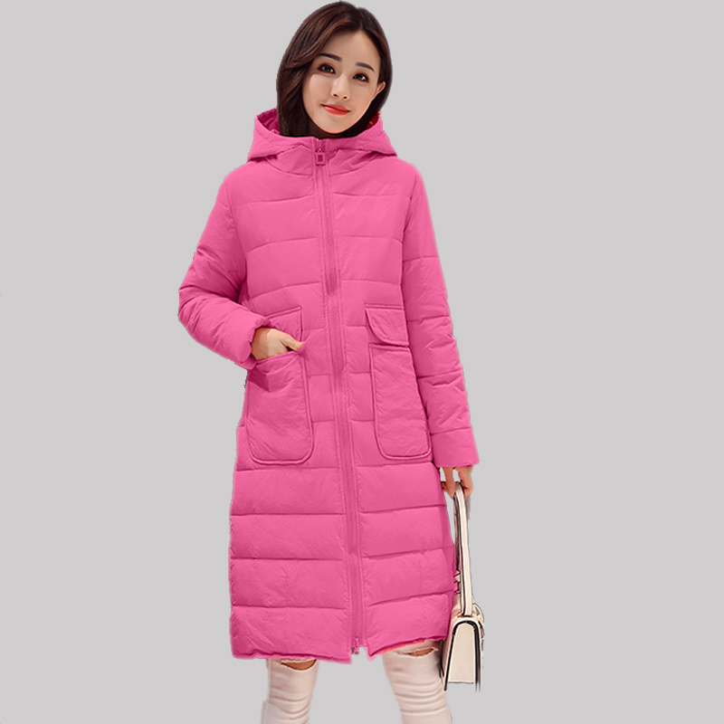 Winter jacket Women Colorful Parkas 2017 Female cotton padded slim Long jacket Warm Coats zipper pockets hooded chaqueta mujer new 2017 winter cotton coats women jacket stitching slim parkas hooded feather padded female long outerwear abrigos mujer 1056