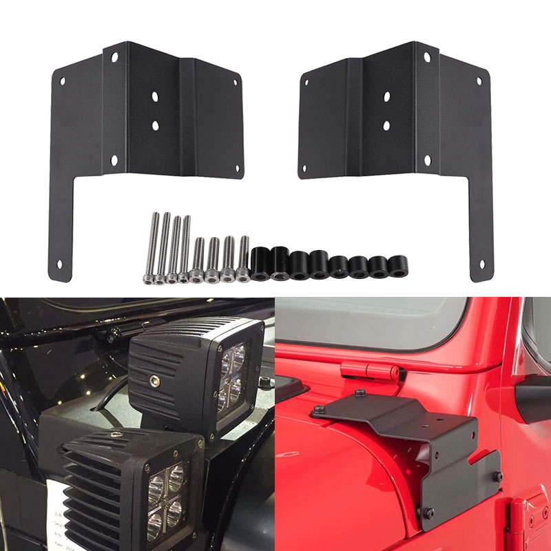For Jeep Wrangler JL2018 2019 A Pillar Windshield Hinge Mount Brackets for Mounting Auxiliary Off Road HID Halogen Work Lights-in Car Light Accessories from Automobiles & Motorcycles    1