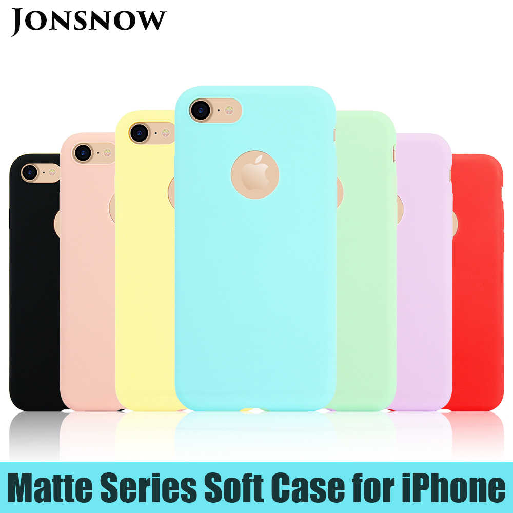 JONSNOW Phone Case for iPhone 6S 7 8 Plus 5S SE Matte Pure Color Jelly Cover for iPhone 11 Pro X XR XS Max Skin Gel Soft Cases