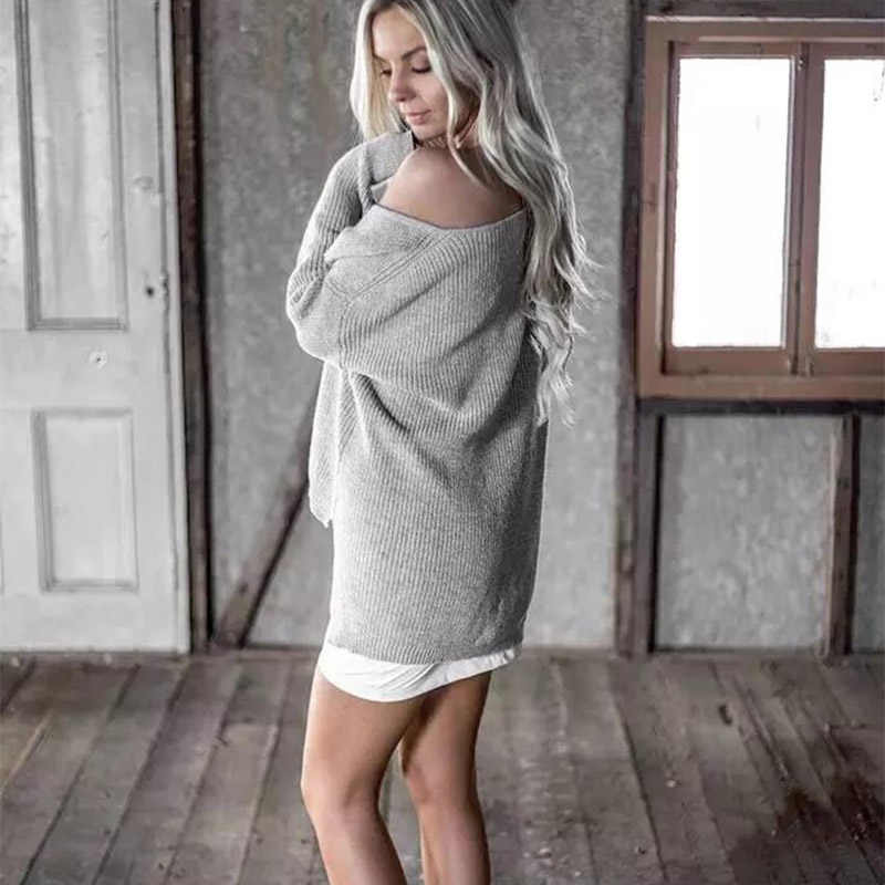 EISWELT Sexy Off Shoulder Split Knitted Sweater Women Brand Black Pullovers Knitwear Autumn Winter 2018 White Jumper Pull Femme