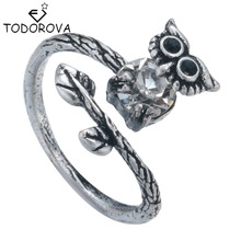 Todorova Personality Animal Owl Ring Vintage Punk Male Finger Rings Antique Silver Adjustable Rings for Women Vintage Jewelry