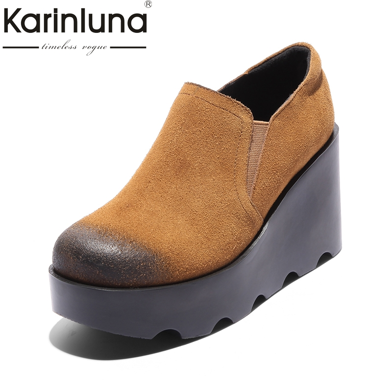 KARINLUNA Cow Suede 2018 Size 34-39 Wedge High Heel Black Shoes Women Shoes Genuine Leather Slip On Round Toe Pumps Woman Shoes nayiduyun women genuine leather wedge high heel pumps platform creepers round toe slip on casual shoes boots wedge sneakers