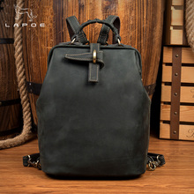 LAPOE Crazy Horse Genuine Leather Backpack Men High Quality Leather Travel Backpacks Man Vintage Big Casual School Shoulder Bags