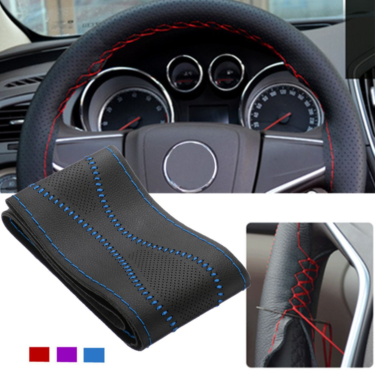 diy 38cm genuine leather auto car steering wheel cover soft anti slip car steering cover with. Black Bedroom Furniture Sets. Home Design Ideas