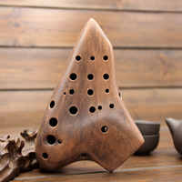 Alto C 16 Holes Ocarina Three Tubes Smoked Burn AC Tone Plant Paint Flute With Bag/Lanyard