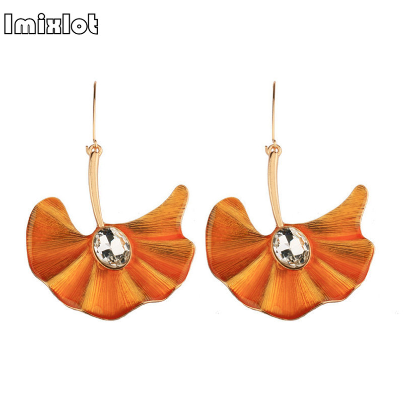 imixlot Punk Geometric Crystal Big Fan Earrings Personality Metal Trendy Long Dangle Earrings For Ladies Costume Jewelery Brinco