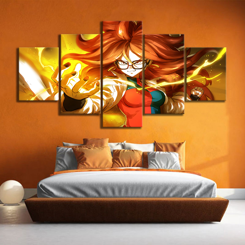 5 Piece Canvas Art Android Dragon Ball Fighter Z Video Game Poster HD Wall Paintings for Bedroom Decor 2