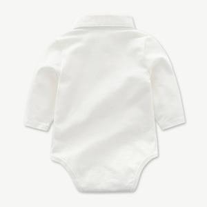 Image 3 - Newborn Clothes Toddler Boy Hat Romper Clothing Baby Set 3PCS Cotton Bib Long sleeved Jumpsuit Suit Boys Fashion Outfit 3 6 24M
