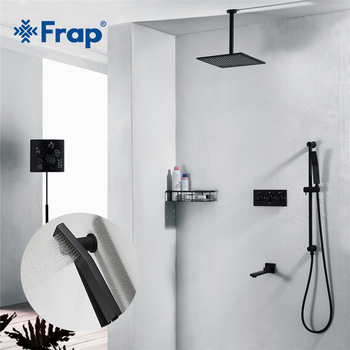 Frap Black Shower Faucet  Mixer Bath Faucet Mixer Bathroom Tap Set Bathtub Shower Bath Set Shower Faucets Concealed Shower frap digital bathroom shower mixer with display bath shower faucet system set wall mount mixer digital display shower panel
