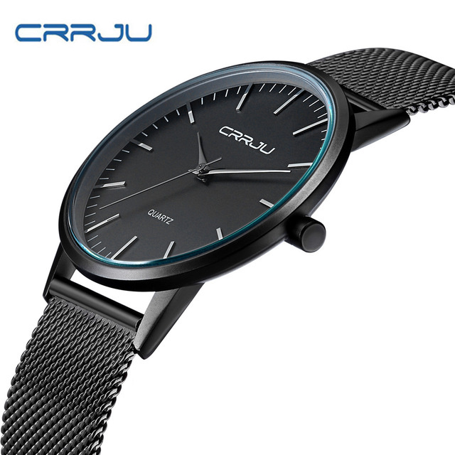 2018 CRRJU Top Brand Luxury Men's Watches Casual Black Dial Ultra Thin Stainless Steel Mesh Strap Quartz Watch Male Clock 2117 laser a2 workbook with key cd rom