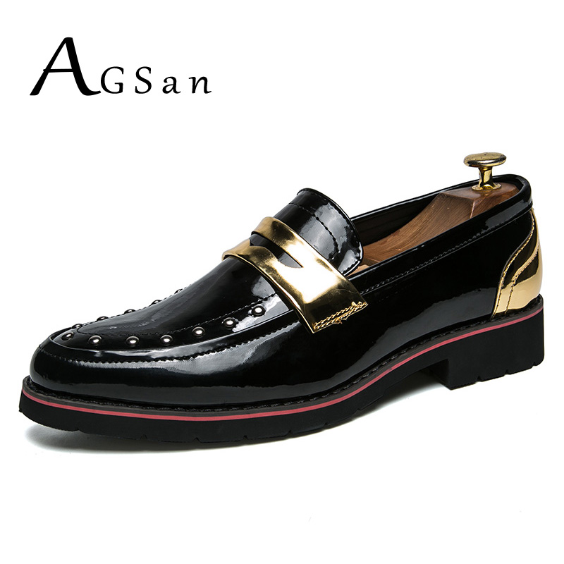 AGSan Men Rivet Loafers Designer Penny Loafers Gold Silver Mens Wedding Shoes Pointed Toe Dress Loafers PU Leather Casual Shoes choudory mens silver flat wedding shoes genuine leather slip on men loafers shoes pointed toe dress shoes