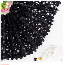 Lace accessories water soluble hollow black lace embroidered clothes DIY accessories skirt super wide hem cloth fabric недорого