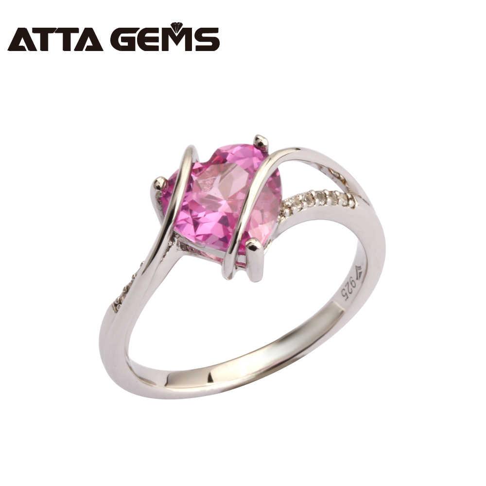 สีชมพู Sapphire แหวนเงิน 2.5 กะรัตไพลินสีชมพูน่ารักสำหรับสุภาพสตรีสำนักงาน Fine และ Top คุณภาพแหวนเงิน