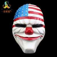 High Qulity Resin Mask Payday 2 Movie Dallas Mask Theme Resin mask US Flag Halloween Clown Payday Masquerade Carnaval Costume