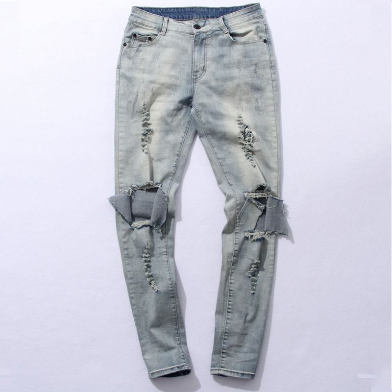 myweibo Boots Jeans Mens kanye Boot Demin Distresse Knee havoc Hole Stretch Ripped Jeans Men Hot selling amy1811