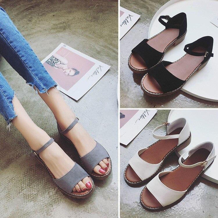 Sweet Summer Platform Sandal 2018 Buckle Strap Open Toe Women Sandals Square Heel Designer Shoes 4