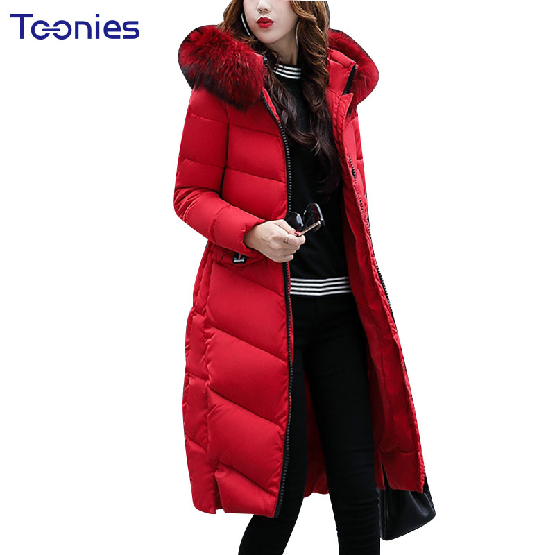 2017 Padded Parkas With Faux Fur Hooded Women Winter Coat Thick Overcoat Wadded Long Jackets Outwear Warm Slim Pockets Zippers women winter coat jacket warm parkas fur hooded wadded overcoat plus size outerwear letter bomber jackets tops zipper pockets