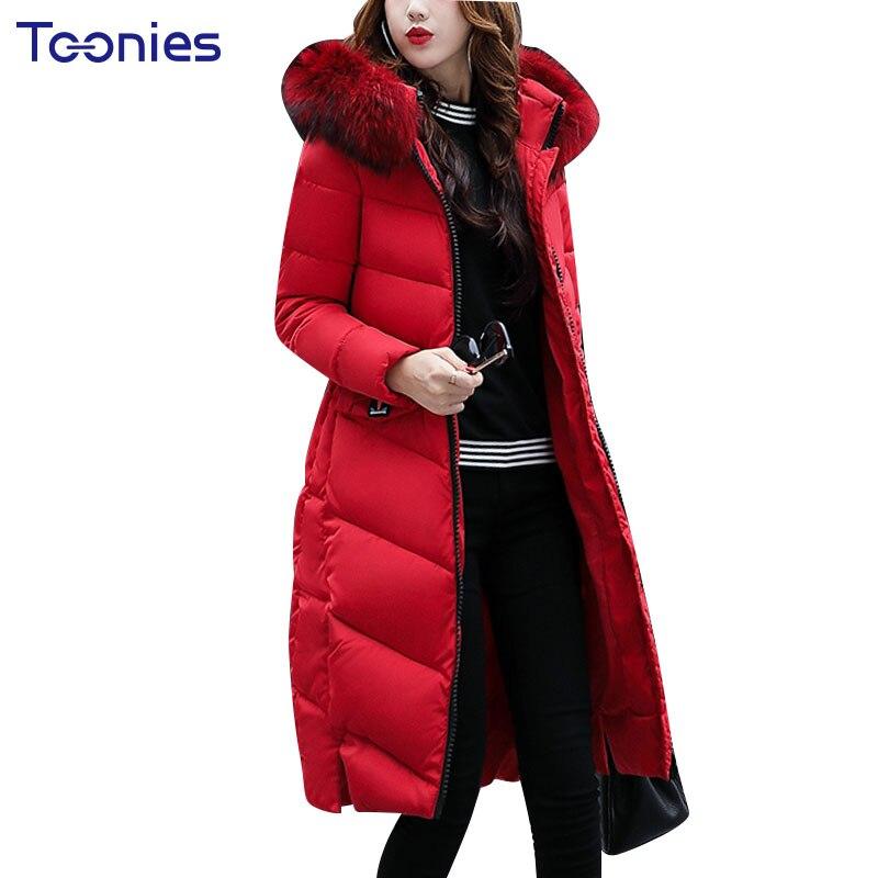 2017 Padded Parkas With Faux Fur Hooded Women Winter Coat Thick Overcoat Wadded Long Jackets Outwear Warm Slim Pockets Zippers цены онлайн