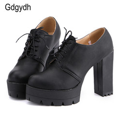 Gdgydh drop shipping 2017 new arrivals lacing women shoes thick heels platform female pumps casual round.jpg 250x250