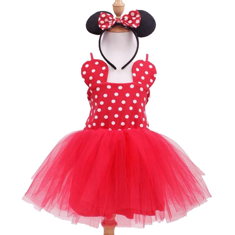 Polka Dots Red Baby Girl Dress + Minnie Headbands Summer Style Girls Clothing Sets Fantasia Infantil Costumes For Kids Clothes xmas leopard minnie dots red pettiskirt with christmas minnie print white long sleeve top with minnie dots lacing mamw413