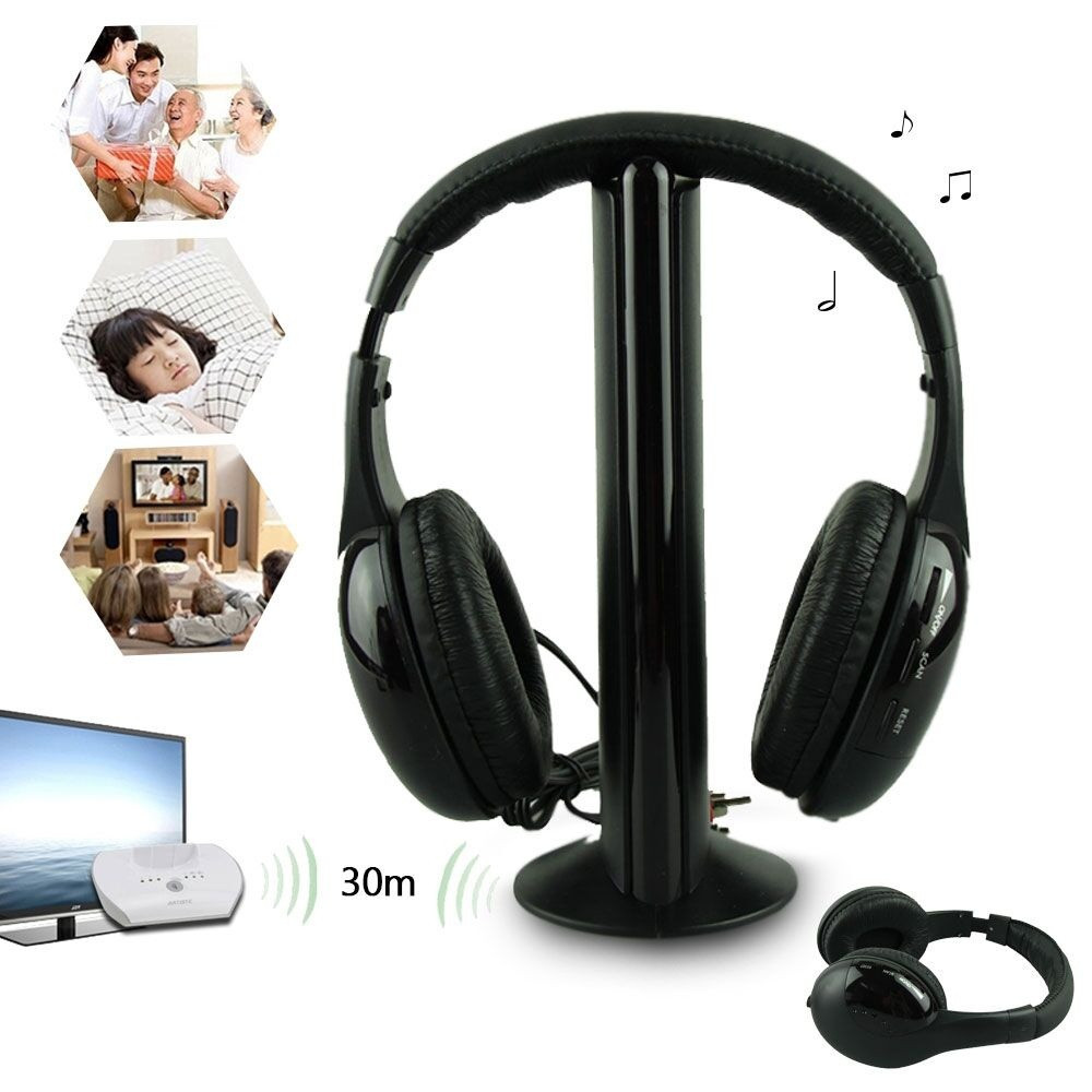 5in1 wireless headphone casque audio sans fil ecouteur hi fi radio fm tv mp3 mp4 in earphones. Black Bedroom Furniture Sets. Home Design Ideas