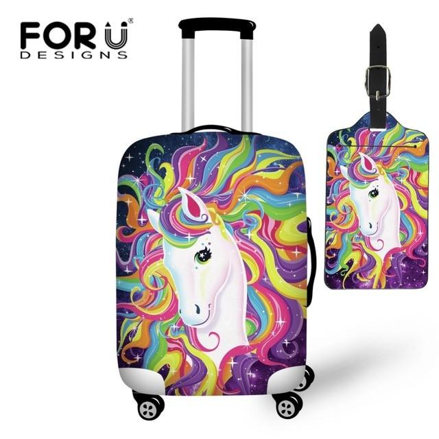 c3338c44b8b31 FORUDESIGNS Cartoon jednorożec podróży na drodze bagaż ochronny pokrowiec  Tag elastyczna 18-28 cal wodoodporny wózek pokrowiec na walizkę