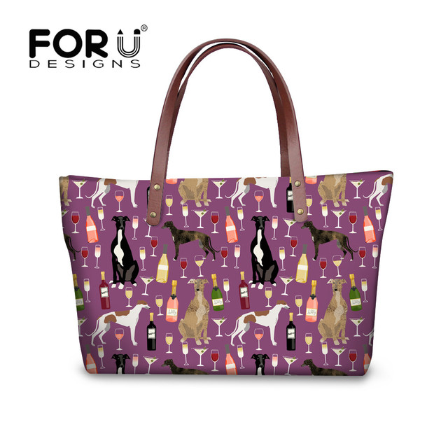 FORUDESIGNS 2018 Women Bags Set Greyhound Black Pet Printed Large Tote Bags Ladies Shoulder Bag Leather Purse Sac a Main Femme