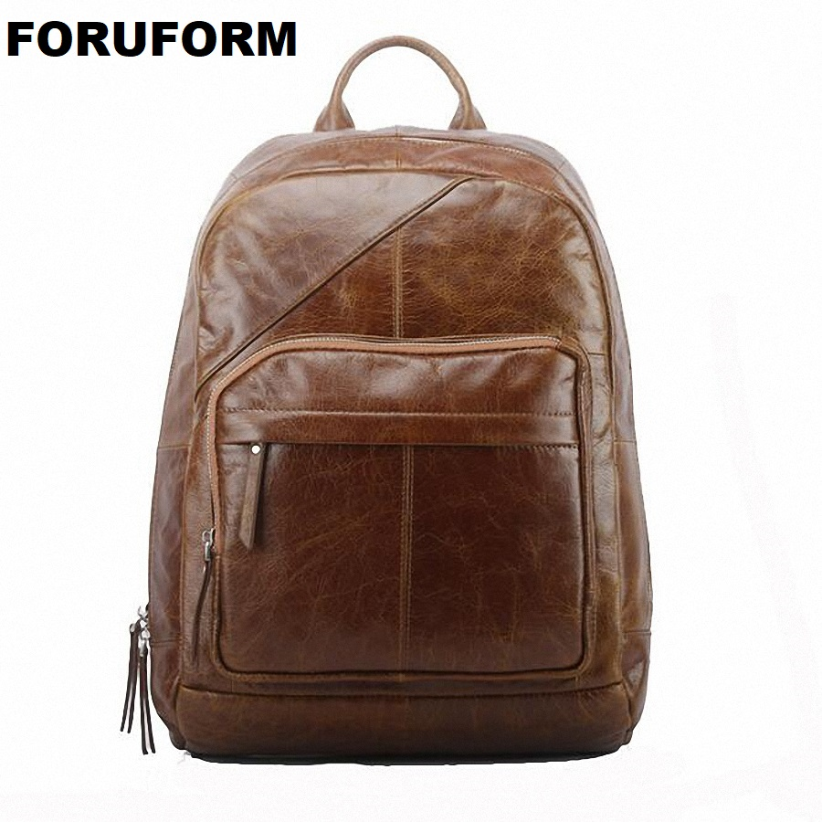 100% Genuine Leather Men Backpack Zipper Style Brown Laptop Backpack Hot Student School Backpack Men Travel Bag LI-1737100% Genuine Leather Men Backpack Zipper Style Brown Laptop Backpack Hot Student School Backpack Men Travel Bag LI-1737