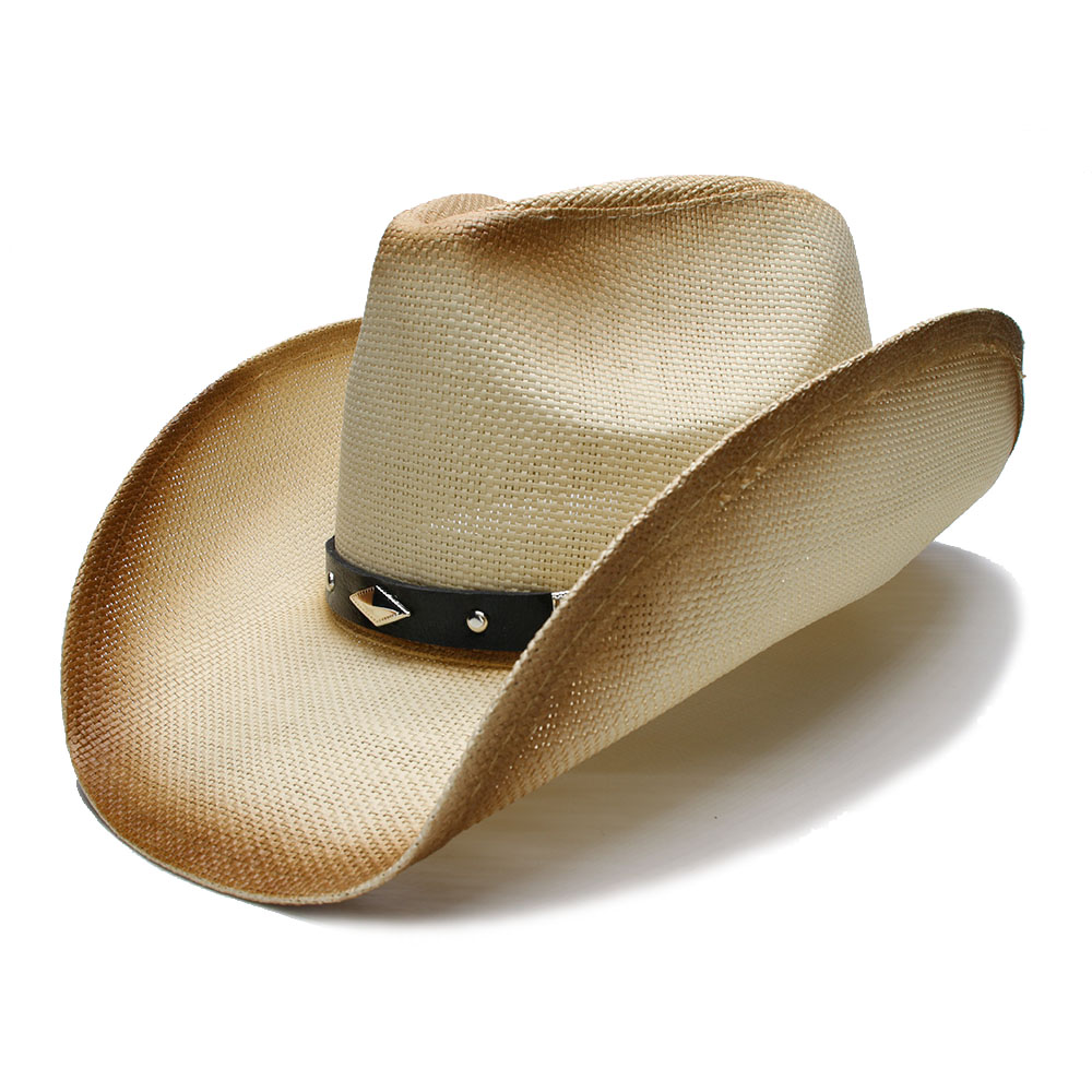 Retro Style Women s Men s Summer Straw Wide Brim Beach Cowboy Hat Western  Cowgirl Diamond Shape Leather Band Fedora 58cm-in Cowboy Hats from Apparel  ... eac737cad990