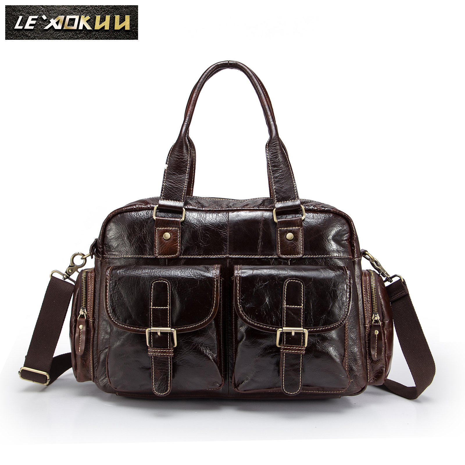 Hot Sale Design Leather Coffee Casual Fashion Men Briefcase Business Laptop Case Attache Messenger Bag Tote Bag For Men 061c