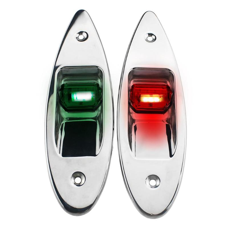 1 Pair 12V Flush Mount Marine Boat RV Side Navigation Light Red Green LED Stainless Steel Yacht Side Bow Tear Drop Lamp-in Marine Hardware from Automobiles & Motorcycles
