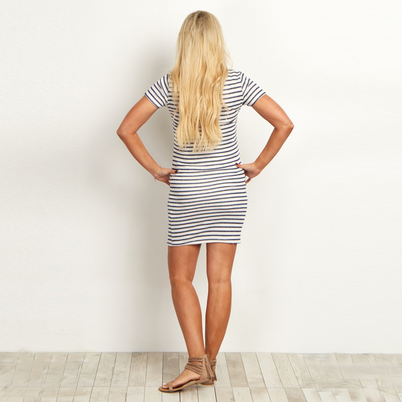 maternity dress-pregnancy dress-striped maternity dresses back AS1751