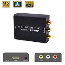 4k hdmi para adaptador av hd conversor de vídeo hdmi para rca av/cvsb l/r vídeo 480p 720p 1080p 2160p suporte ntsc pal hdmi2av