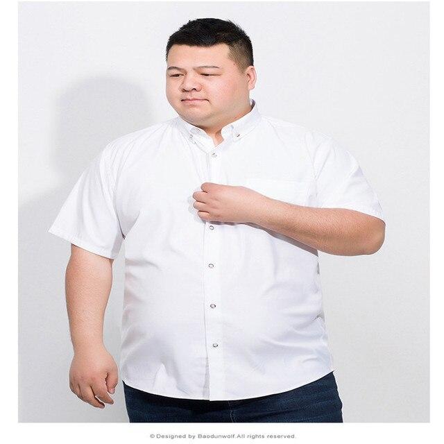 Plus 10XL 8XL 6XL 2018 Cotton Men Short Sleeve Solid Business Working Shirts Casual Shirt Oxford  2