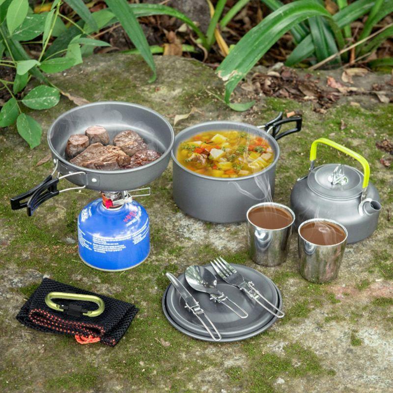 1 Set pique-nique théière extérieur Camping batterie de cuisine Kit outils de cuisine Portable poignée Pot ustensiles de cuisine aluminium ustensiles chaudière randonnée - 6
