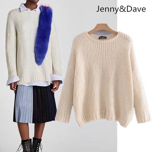 Jenny&Dave winter euramerican christmas sweater Round collar Long sleeve beige Easy leisure womens sweater